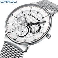 CRRJU Top Brand Luxury Date Watch Waterproof Ultra Thin Male Strap Steel Casual Quartz Watch White Sport Wristwatch