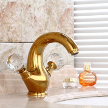 Free ship gold Finish double crystal handles classic style bathroom lavatory washbasin sink faucet mixer tap Single Hole