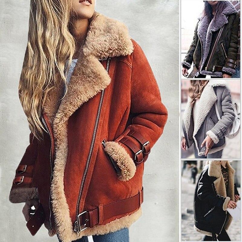 חורף נשים פו פרווה צמר מעיל להאריך ימים יותר חם דש Biker מנוע טייס מעיל גברת צבי עור קטיפה כבש מעיל מעיל