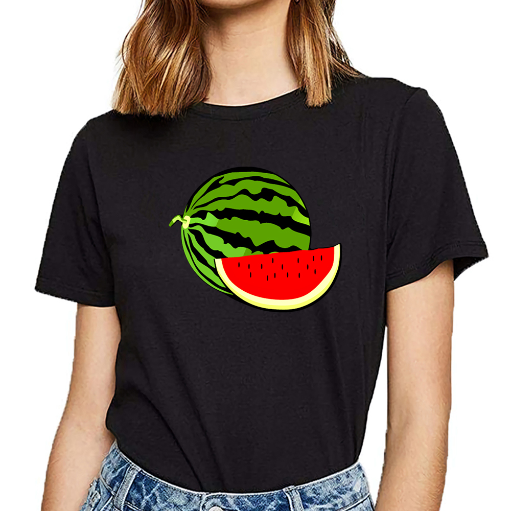 Tops T Shirt Women Watermelon Funny Vintage Cotton Female Tshirt