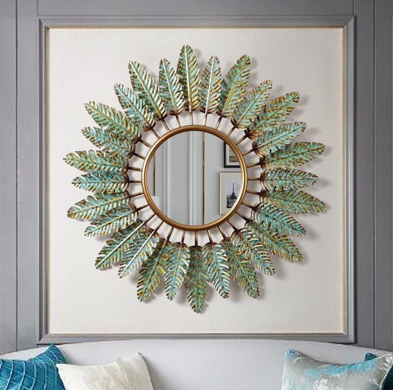 Europeu de ferro forjado decorativo espelho parede pendurado decoração artesanato do hotel sala corredor adesivo parede mural ornamentados - 5