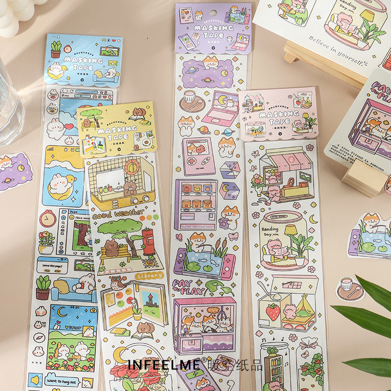 Mohamm 1Pcs My Small World Series DIY Cute Cartoon Stickers Creative Scrapbooking Stationary School
