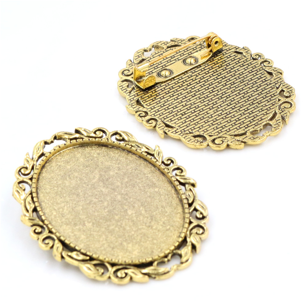 New Fashion  5pcs 30x40mm Inner Size Antique Gold Color Pin Brooch Flowers Style  Base Setting Pendant (B3-19)