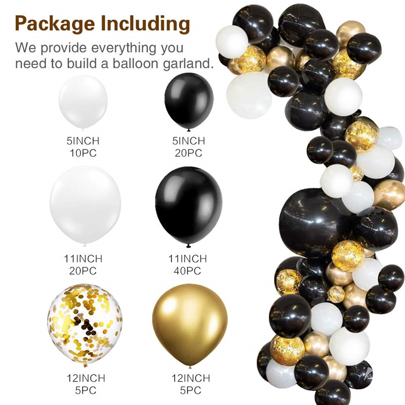 Image 2 - 101pcs black white latex balloon garland arch kid metal gold confetti Wedding Party Balloons Baby Shower Supplies Backdrop Decor-in Ballons & Accessories from Home & Garden