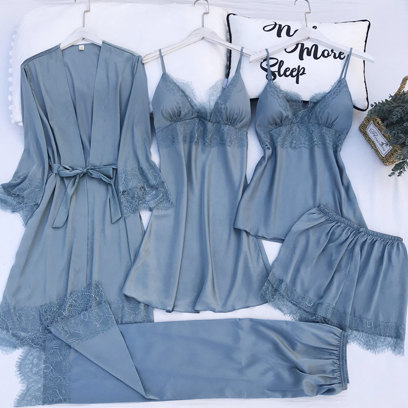 5PCS Pajamas Set Silk Satin Womens Lace Nightwear Spring Strap Pyjamas Suit Female Lounge Sleepwear with Chest Pads Home Wear