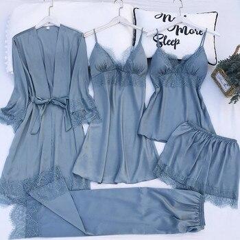 5PCS Pajamas Set Silk Satin Womens Lace Nightwear Spring Strap Pyjamas Suit Female Lounge Sleepwear with Chest Pads Home Wear - discount item  49% OFF Women's Sleep & Lounge