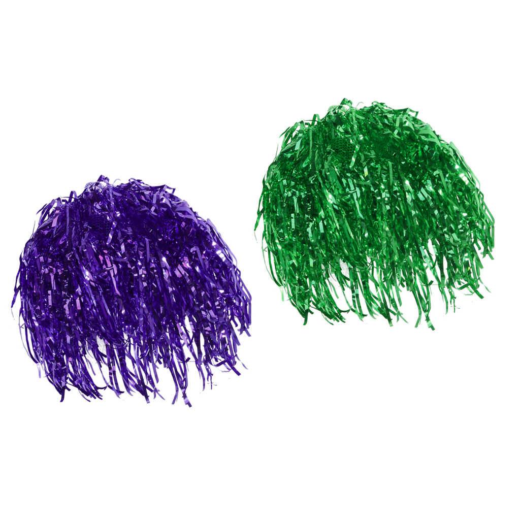 2 Pcs Klatergoud Pruiken Unisex Fancy Dressing Up Klatergoud Pruiken Glanzende Groene Purple Party Csotume Props