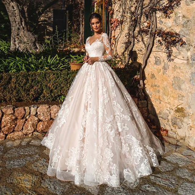Luxury Pink A Line Wedding Dresses V neck Lace Appliques Illusion Long Sleeves Women Wedding Dress Plus Size Bridal Gown 1
