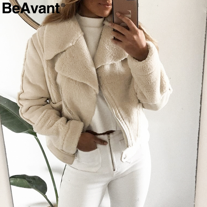 BeAvant Casual patchwork faux fur   leather   coat women Chic ladies warm   suede   overcoats Elegant zipper pockets faux winter jackets