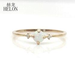 HELON stałe 10k żółte złoto okrągły cabochon 4mm Opal syntetyczny i cyrkonia zaręczynowy obrączka kobiety Trendy biżuterii