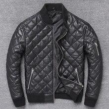 Chaqueta de algodón de piel auténtica cálido para hombre, abrigo de piel de oveja a cuadros de calidad, ropa de cuero para invierno, envío gratis, novedad