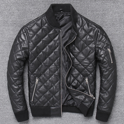 Free shipping,New arrival.winter warm cotton genuine leather jacket.quality plaid sheepskin coat.man leather clothes.sales