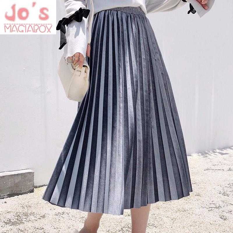 Winter Women A-Line Pleated Skirt Vintage Casual Solid Female High Waist Mid-Calf Skirts Korean Ladies Office Empire Skirt