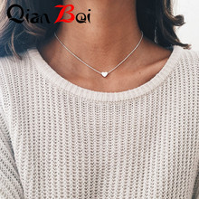 QianBei Tiny Heart Necklace for Women SHORT Chain Heart Shape Pendant Necklace Gift Ethnic Bohemian Choker Necklace(China)