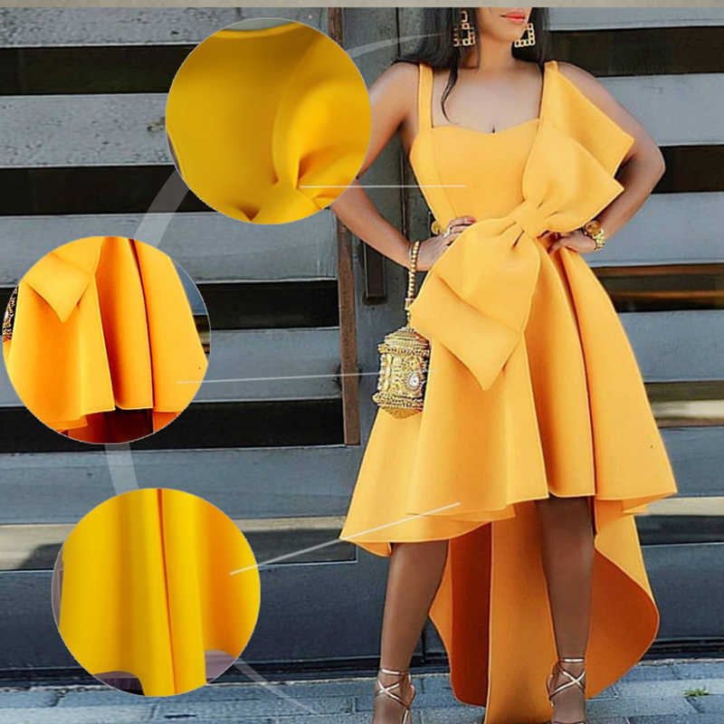 אופנה עיצוב קפלים בתוספת גודל ארוך המפלגה שמלה אלגנטית ערב סקסי אפריקאי נשים שמלות צהוב קיץ קיצי מותג מזדמן