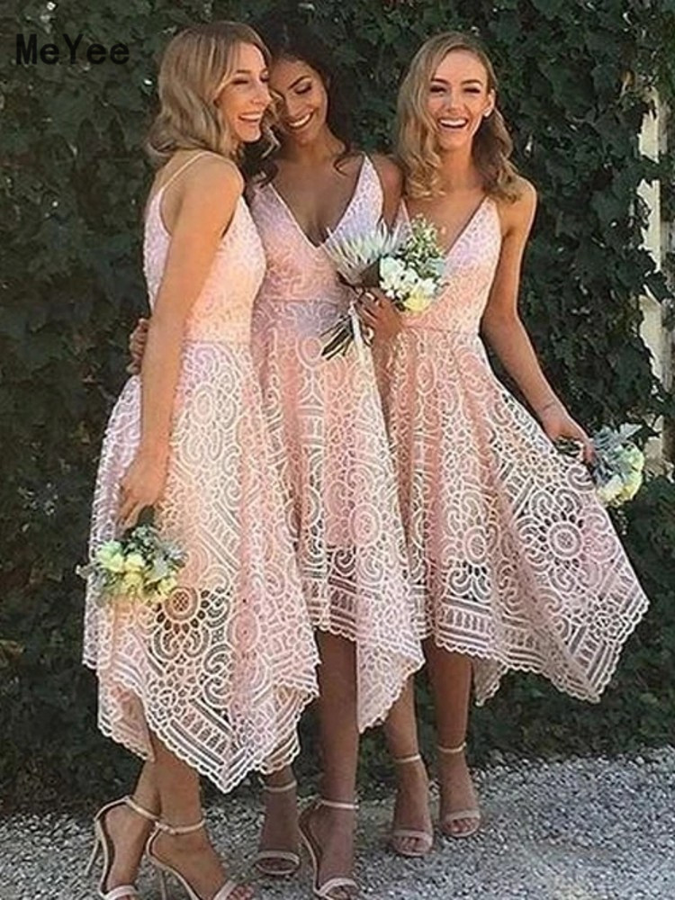 Tea Length Full Lace Bridesmaid Dresses 2020 V Neck Backless Country Maid of Honor Wedding Party Guest Gowns Custom