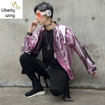 Personality Harajuku New Faux Leather Golden Silver Mens Jackets Hip Hop Casual Loose Stage Costume Motorcycle Male Short Coats