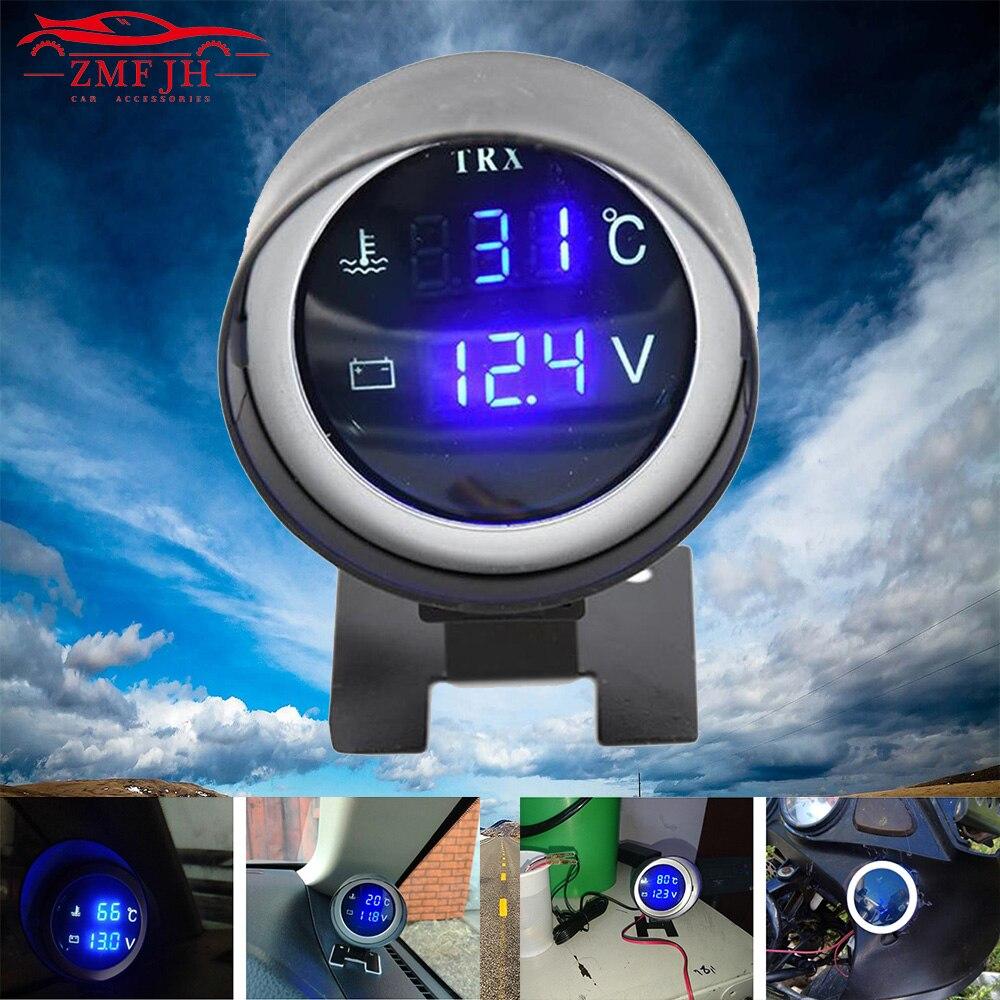 2 en 1 redondo 12V 24V LED Digital coche camión medidor de temperatura del agua sensor de temperatura motor + voltímetro voltaje