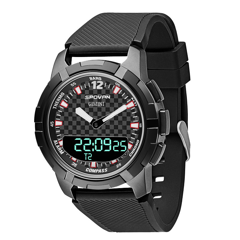Spovan New Outdoor Intelligent Asynchronous Double Watch Compass Mechanical Pointer Multi-functional Sports Watches