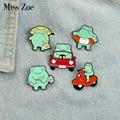 Fun Frog Enamel Pins Custom Froggy Car Swimming Pool Plant Brooch Lapel Badge Bag Cartoon Animal Jewelry Gift for Kids Friends
