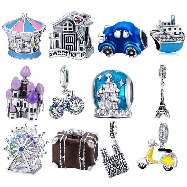 BISAER, серебро 925 пробы, принцесса, крупный рогатый скот, тыква, автомобиль, детская коляска, семейный дом, бусы для дома, очаровательный брасле...