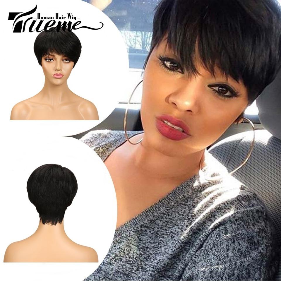 Trueme Natural Dark Brown Red Wine Color Short 100% Human Hair Wigs For Black Women Pixie Cut Full Wigs Remy Brazilian Hair