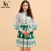 LD LINDA DELLA Fashion Runway Autumn Dress Women's Puff Sleeve Printed Bow Tie Collect Waist Elegant Casual A-Line Mini Dresses pinstripe bow tie puff sleeve dress