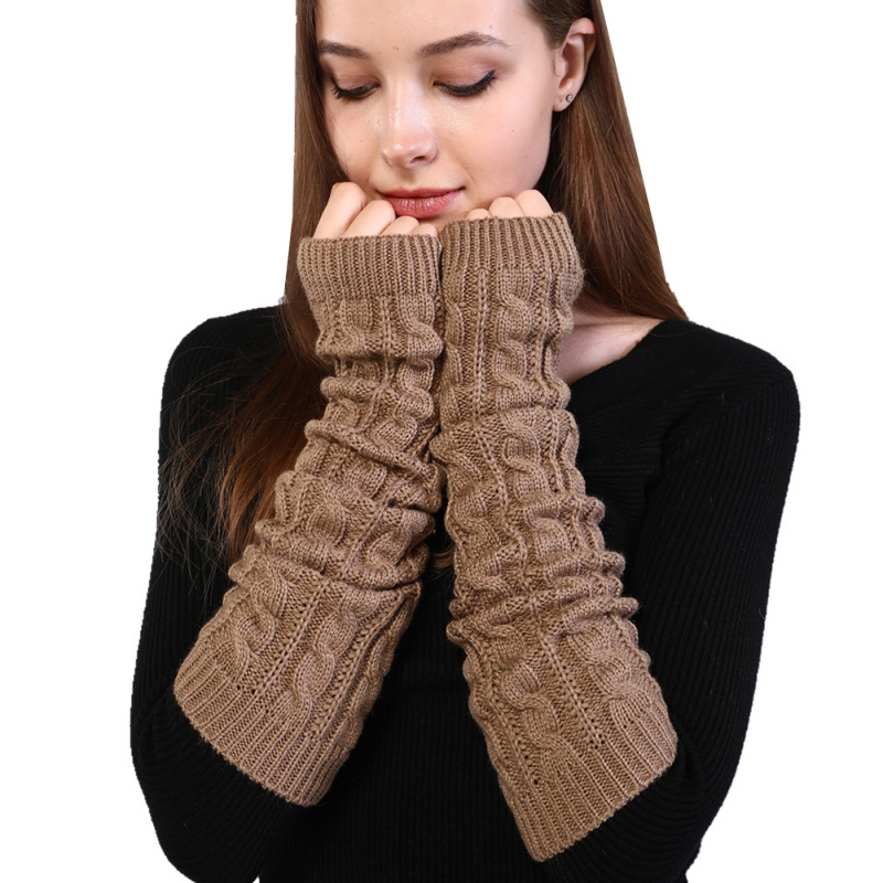 Women Autumn Winter Knitted Arm Warmers Fingerless Long Gloves Simple Warm Elbow Mittens Knitted Sleeves Twist Pattern Gloves