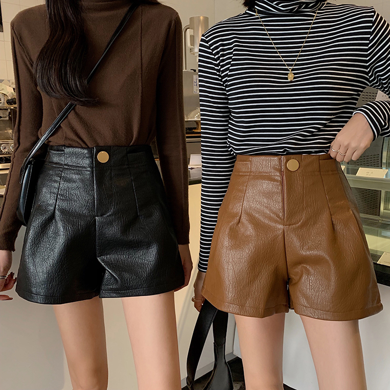 Vintage PU Leather High Waist Shorts Women Korean Solid Width-leg Shorts Plus Size Female Fashion Loose Shorts Autumn Winter New