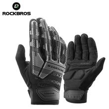 ROCKBROS rękawice rowerowe jesienne zimowe wiatroszczelne rękawice rowerowe SBR z ekranem dotykowym MTB oddychające pełne palce odporne na wstrząsy rękawice sportowe