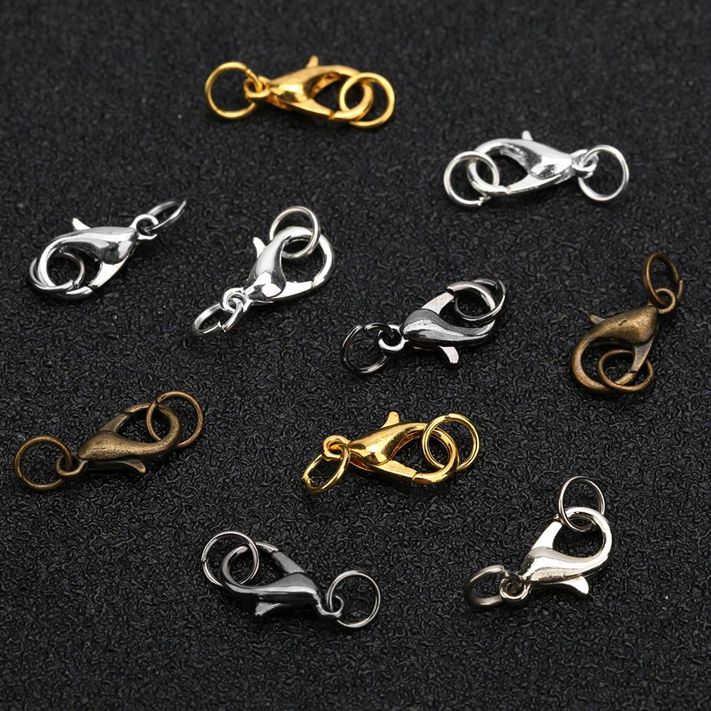 20pcs 10 12 14mm Lobster Clasps Hooks Set Metal Iron Gold Color Jump Rings End Clasps Connectors Necklace Supplies For Jewelry