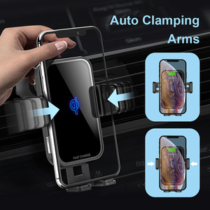 Image 4 - 2 In 1 Fast Wireless Car Charger For Iphone XS Samsung S10 QI 10W Wireless Charger Car Air Vent Dashbord Mobile Phone Holder