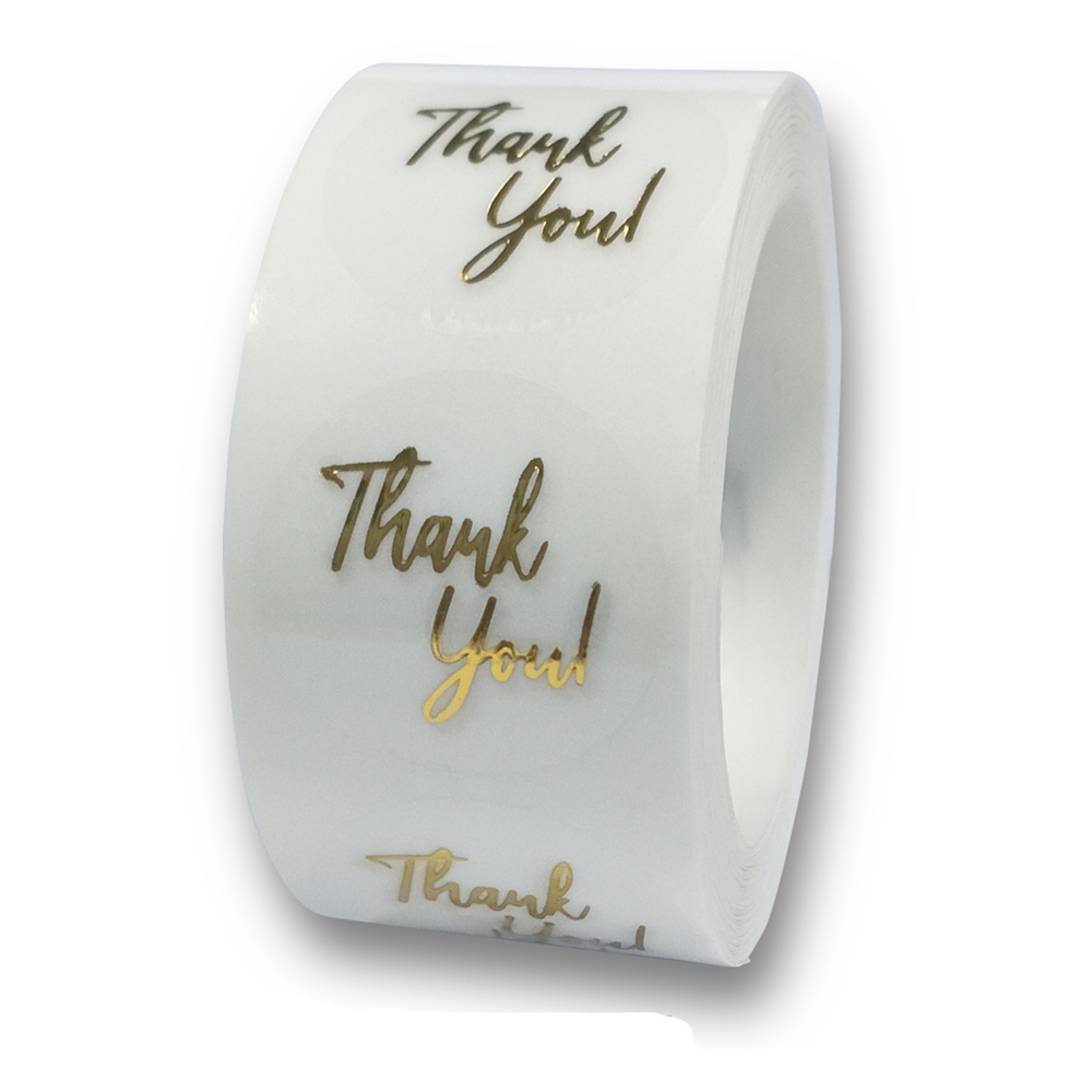 50-500pcs Labels 1inch Clear Gold Foil Thank You Stickers For Wedding Pretty Gift Cards Envelope Sealing Label Stickers