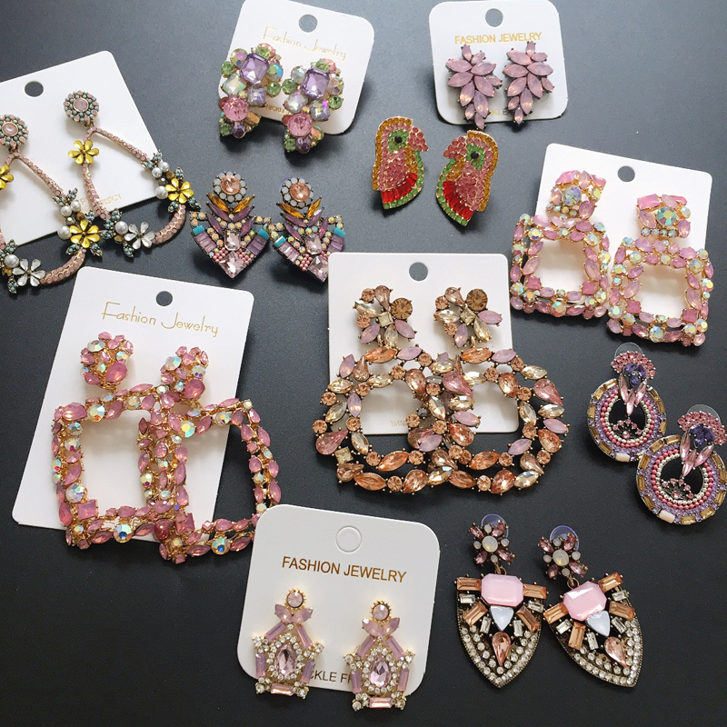 Ztech Korean Sweet Pink Vintage Drop Earring Bling Crystal Long Earring brincos pendientes Wholesale Statement Jewelry Bijoux