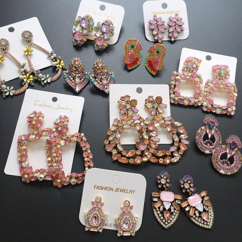 Ztech Korean Sweet Pink Vintage Drop Earring Bling Crystal Long Earring brincos...