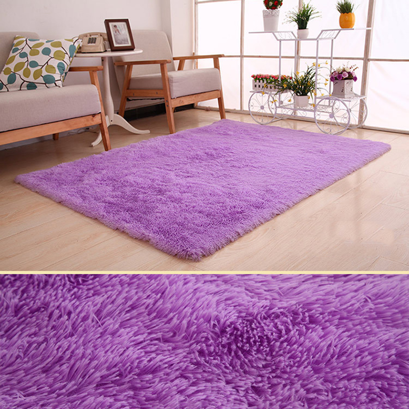 New Rugs Purple Carpet Thicker Area Rug For Living Room Plush Non-slip Mat Soft Children Bedroom Mats Vloerkleed 50x80 160x200cm