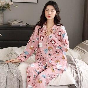 Image 5 - BZEL Neue Frühling Herbst Nachtwäsche Sets Kawaii Cartoon Pyjama Anzug Für Frauen Weiche Baumwolle Damen Hause Tragen Große Größe Pijama pyjama