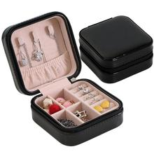Portable Jewelry Organizer Collection Necklace Ring Earrings Storage Box Case for jewelry/bracelet/ring/necklace Display Jewelry jewelry leather mirror box storage organizer case ring earrings necklace display