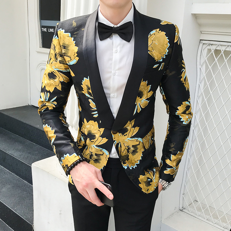 Floral Blazer Masculino Americana Hombre Mens Stage Wear Autumn Blazer Hombre Mens Flowers Blazers Casual Club Slim Fit