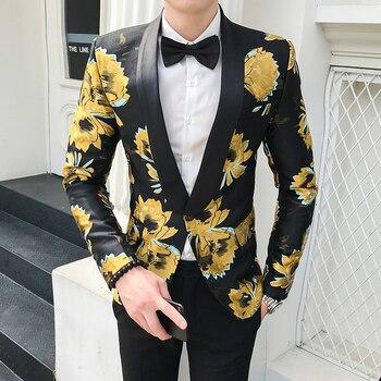 Floral Blazer Masculino Americana Hombre Mens Stage Wear Autumn Blazer Hombre Mens Flowers Blazers Casual Club Slim Fit