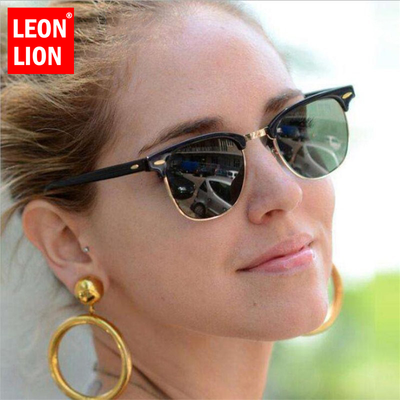 US $3.29 30% OFF|LEONLION Half Metal Sunglasses Men Women Brand Designer Glasses Mirror Sun Glasses Fashion Gafas Oculos De Sol Classic|Men