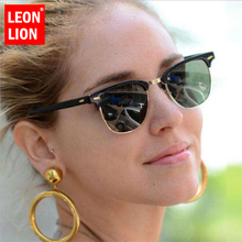 LEONLION Half Metal Sunglasses Men Women Brand Designer Glasses Mirror Sun Glass