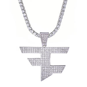 Jewelry Necklace Faze Clan Iced-Out Gold Silver-Color Women Cubic-Zircon Hip-Hop