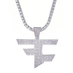FaZe Clan Pendant Necklace Men Women Hip Hop Gold Silver Color Iced Out Cubic Zircon Jewelry Necklace