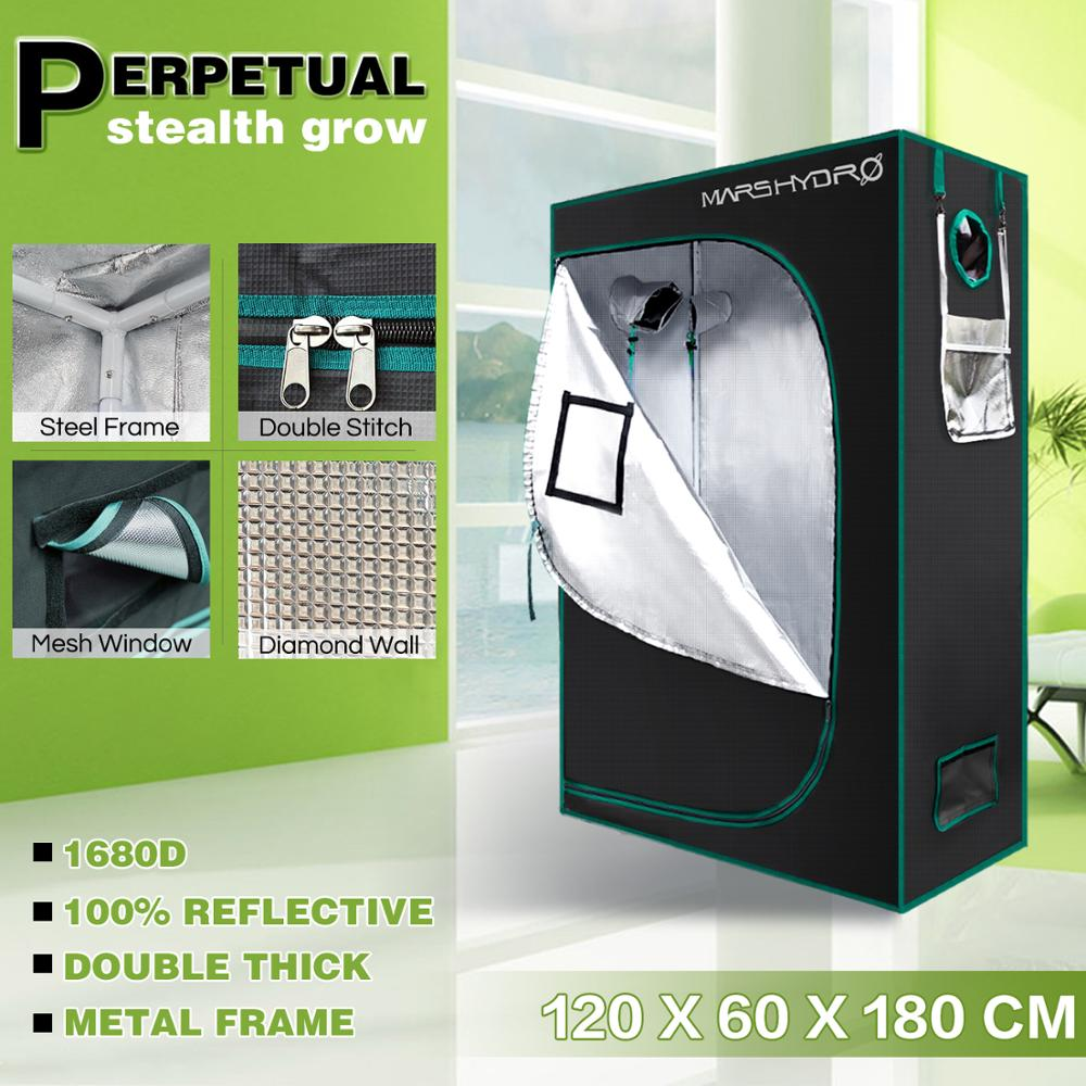 1680D Mars Hydro 120*60*180cm Indoor Grow Tent Hydroponic Plant Growing Non Toxic Room Box 100% Reflective Mylar