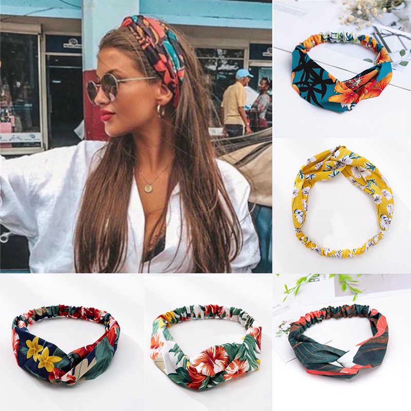 2020 NEW Women Headband Print Floral Cross Elastic Hair Bands Top Knot Hair Rope Square Satin Scarf Hair Tie Band Accessories