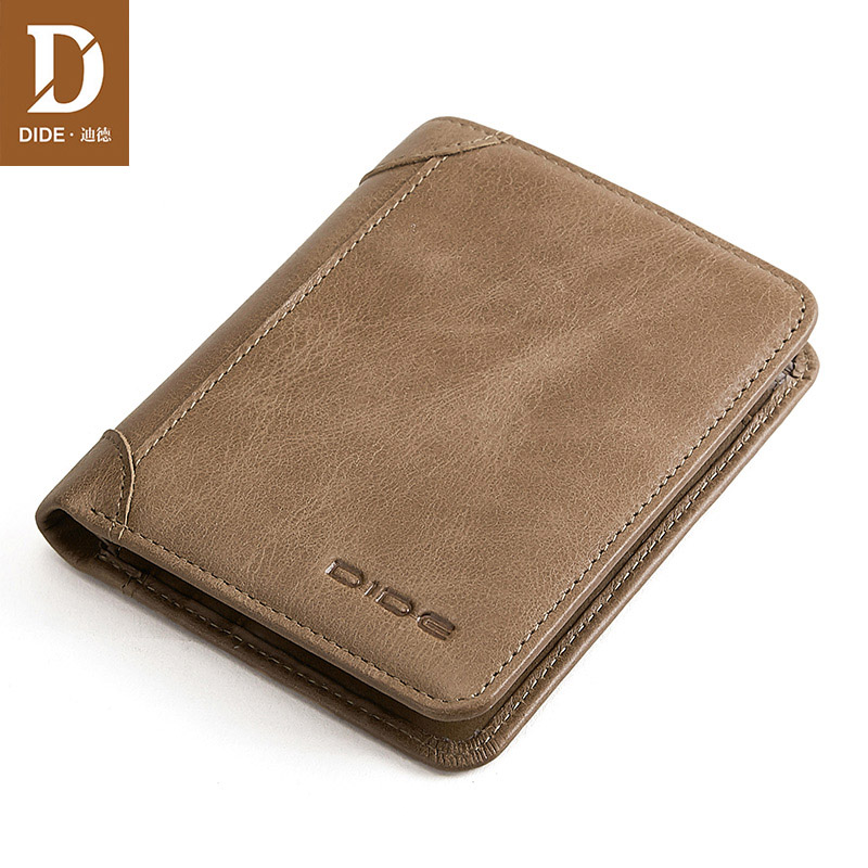 DIDE Vintage Short Wallet Men Small Genuine Leather Wallets Men  Mini Purses Male Gift ID Credit Card Holder Slim Wallet
