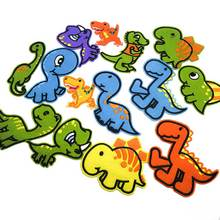 14Pcs one Set Dinosaur Animal Patch Embroidery Stripe Iron on Patches Transfer Applique For Clothes PA59DS