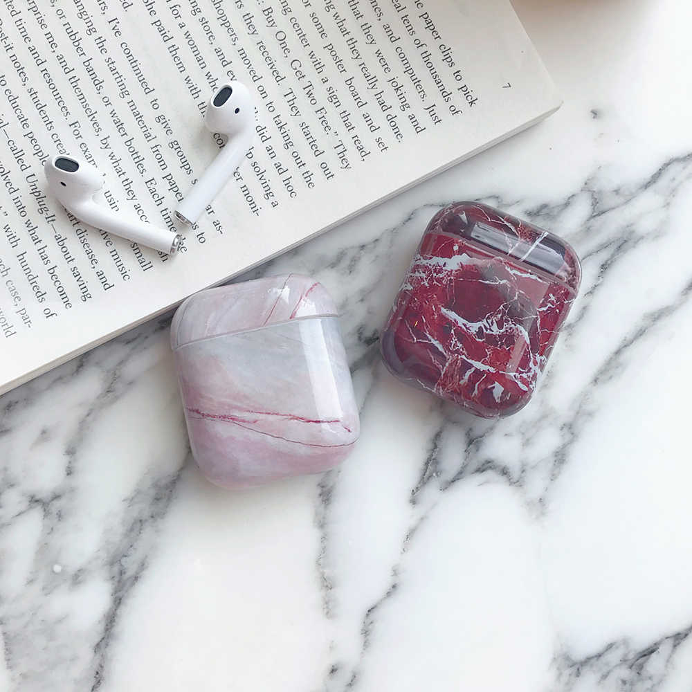 For Apple Airpods case protective cover Luxury Marble Hard Case Bluetooth Wireless Earphone Case Charging Box case bags