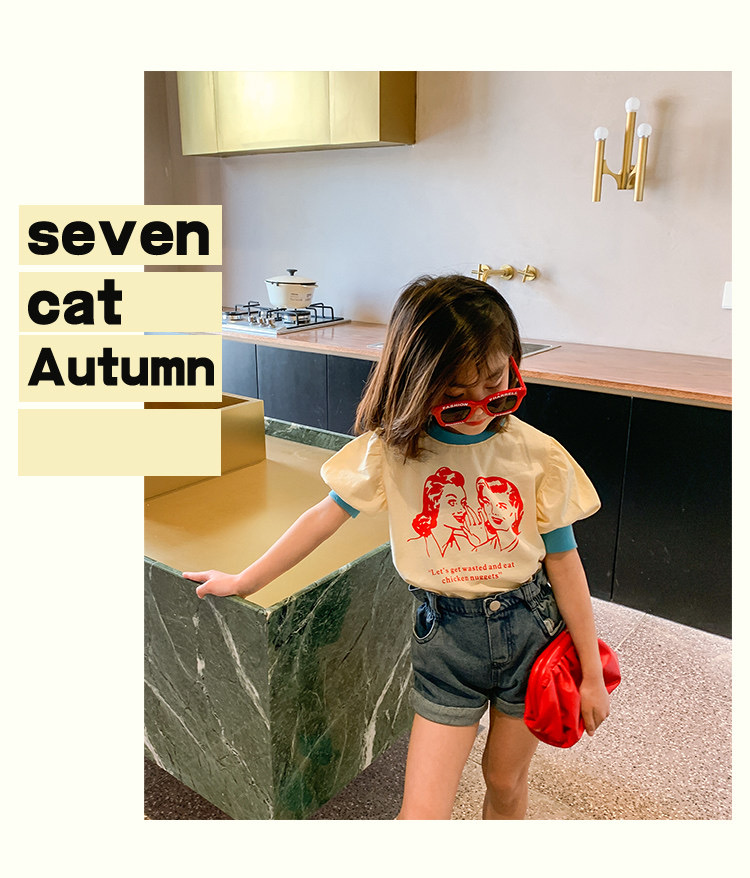 Summer short-sleeved girl T-shirt round neck bubble sleeve top fashion design sense American clothes medium large girl clothes
